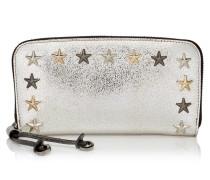 Filipa Brieftasche aus Glitzergewebe in Champagner und Anthrazit mit metallischen Sternen
