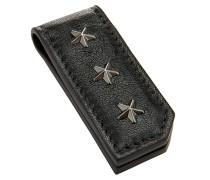 Bixby Geldscheinklammer aus schwarzem Satinleder mit Mini-Sternen