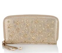 Filipa Brieftasche aus Hirschleder in Hellgold mit Kristallsternen