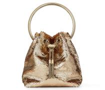 BON BON Handtasche aus Stoff mit Pailletten in Rose Gold
