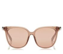 Wilma Sonnenbrille mit eckigem Gestell in Nude und rosanen Flash-Gläsern