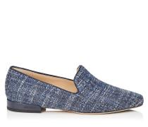 Jaida Flat Flache Schuhe aus dunkelblauem Tweed in Metallic-Optik