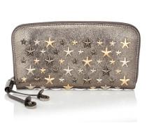 Filipa Brieftasche mit umlaufenden Reißverschluss aus anthrazitfarbenem Glitzerleder mit metallischen Sternen