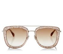 Glossy Quadratische Metall-Sonnenbrille in Nude mit glitzerndem Plexiglasrahmen