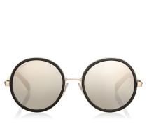 Andie Sonnenbrille mit rundem Gestell aus hellgrauem Acetat mit Glitzerdetails