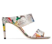 Hira 85 Sandaletten mit eckiger Zehenpartie aus mehrfarbigem glanzvollem Elapheleder