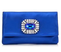 Titania Clutch aus Satin in elektrischem Blau mit Schmucksteinverzierung