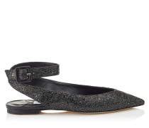 LOU Flat Flache spitze Schuhe aus schwarzem Glitzergewebe