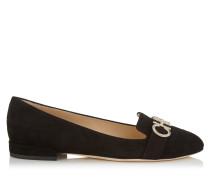 Jaden Flat Flache Schuhe mit runder Zehenpartie aus schwarzem Wildleder