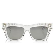 BEE Cat-Eye Sonnenbrille in Silber mit Swarovski Kristall