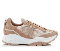 Raine Sneaker aus Leder, Meschgewebe und Blumenspitze in Ballettrosa