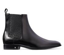 Sawyer Chelsea Boots aus schwarzem Kalbsleder und elastischer Partie mit Leoparden-Print
