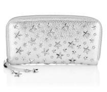 Filipa Hirschlederbrieftasche mit Kristallsternen in Silber