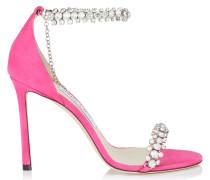 Shiloh 100 Sandaletten aus Wildleder in Pink mit Schmucksteinbesatz