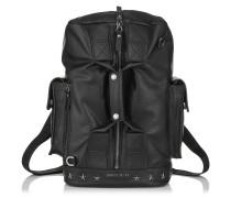 Arlo/l Reisetasche aus schwarzem Biker-Leder mit stahlfarbenen Sternen
