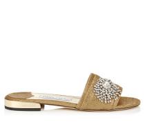 Joni Flat Sandalen aus goldenem Lurex mit Kristallstück