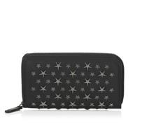 Carnaby Reisebrieftasche aus schwarzem Biker-Leder mit Sternen
