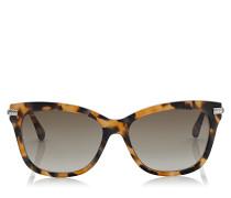 Shade Cat-Eye Sonnenbrille in Havanna Honiggold und Bügeln mit Schlangenschuppen-Textur