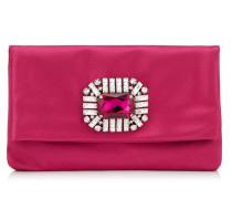Titania Clutch aus Satin in Pink mit Schmucksteinverzierung in der Mitte