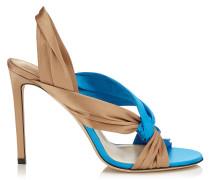 Lalia 100 Sandalen aus Satin in Himmel Mix mit Lederrüschen