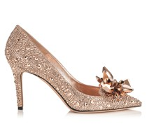 Alia Spitze Pumps mit Kristallverzierung in Rose Gold