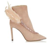 Tanya 100 Spitze Stiefeletten aus Wildleder in Ballettrosa mit Federn und Kristall