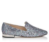Jaida Flat Flache Schuhe aus grobem Glitzergewebe in Bubble Gum