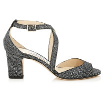 Carrie 65 Peeptoe-Sandalen aus schwarzem Leinenleder