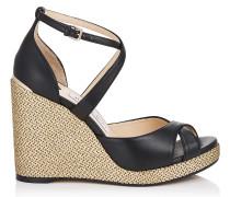 Alanah 105 Sandaletten aus schwarzem Nappaleder mit sportlichem Keilabsatz aus goldfarbenem Webstoff