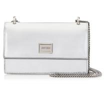 Leni Mini-Tasche aus silbernem flüssigen Glanzleder