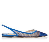 Fetto Flat Spitze flache Schuhe aus Lackleder mit Netzstoff in elektrischem Blau