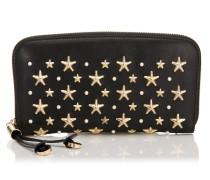 Filipa Brieftasche aus schwarzem Leder mit Sternen und Perlen