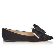 Gleam Flat Flache Schuhe mit spitzer Zehenpartie aus schwarzem Wildleder mit schwarzer Schleife