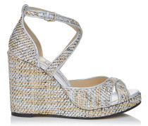 Alanah 105 Wedges aus silbernem Gewebe in Metallic-Optik