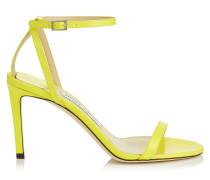 Minny 85 Sandaletten aus flüssigem Leder in Fluo-Gelb