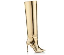 Hurley 100 Zweiteilige kniehohe Stiefel aus goldenem flüssigem Leder