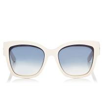 Roxie Oversize Sonnenbrille in Elfenbeinweiß mit Sterndetails