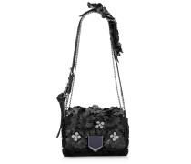 Lockett Petite Handtasche aus schwarzem Nappaleder mit Blumen-Appliqué