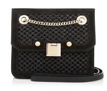Rebel/xb Handtasche aus schwarzem Raphia und Wildleder