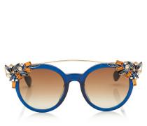 Vivy Sonnenbrille in Blau und Schwarz mit rundem Gestell und abnehmbaren Clip
