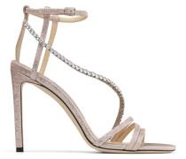 Thaia 100 Offene Sandaletten aus Gewebe in Ballettrosa in Metallic-Optik mit Kristallkette