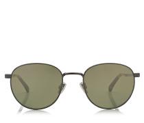 Henri Ovale Sonnenbrille aus Metall in dunklem Ruthenium