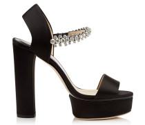 Santina 125 Sandalen aus schwarzem luxuriösen Satin