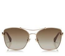 Kimi/f/s 62 Oversize Sonnenbrille mit braunen schattigen Gläsern und Gestell in Rot, Gold, Nude und Weiß