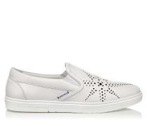 Grove Slip-On-Sneaker aus weißem Kalbsleder mit schwarzen Sternperforationen