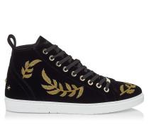 Colt High-Top Sneaker aus schwarzem Samt-Wildleder mit goldfarbener Federstickerei