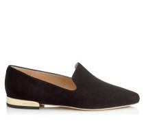 Jaida Flat Flache Schuhe aus schwarzem Wildleder