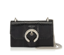 Paris Minitasche aus schwarzem Elapheleder mit kristallbesetzter Schnalle
