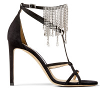 Bijou 100 Sandaletten aus schwarzem Wildleder mit Kristallvorhang