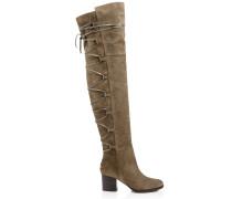 Mayfair 65 Overknee-Stiefel aus graubraunem Wildleder